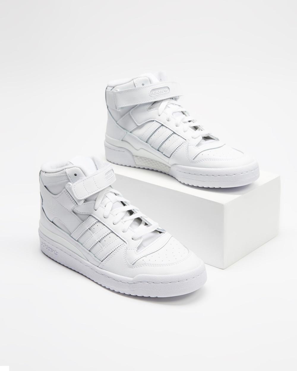 adidas Originals Forum Mid Shoes Unisex Lifestyle Sneakers Cloud White, Cloud White & White