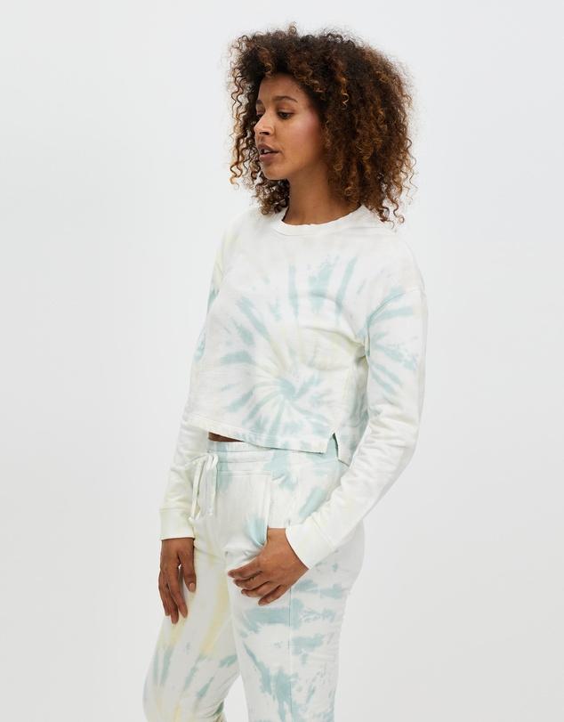 Women Tie Dye Weekend Boxy Cropped Pullover