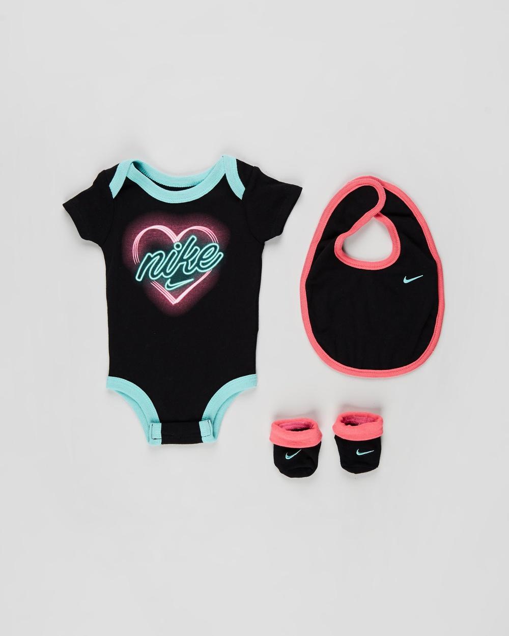 Nike Bodysuit, Bib and Booties Set Babies Bibs Black