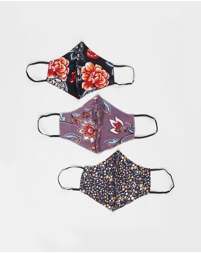 Hope & Harvest 3-pack Reusable Organic Cotton Modal Face Masks Paper Daisy Lilac Multi Paisley Rose