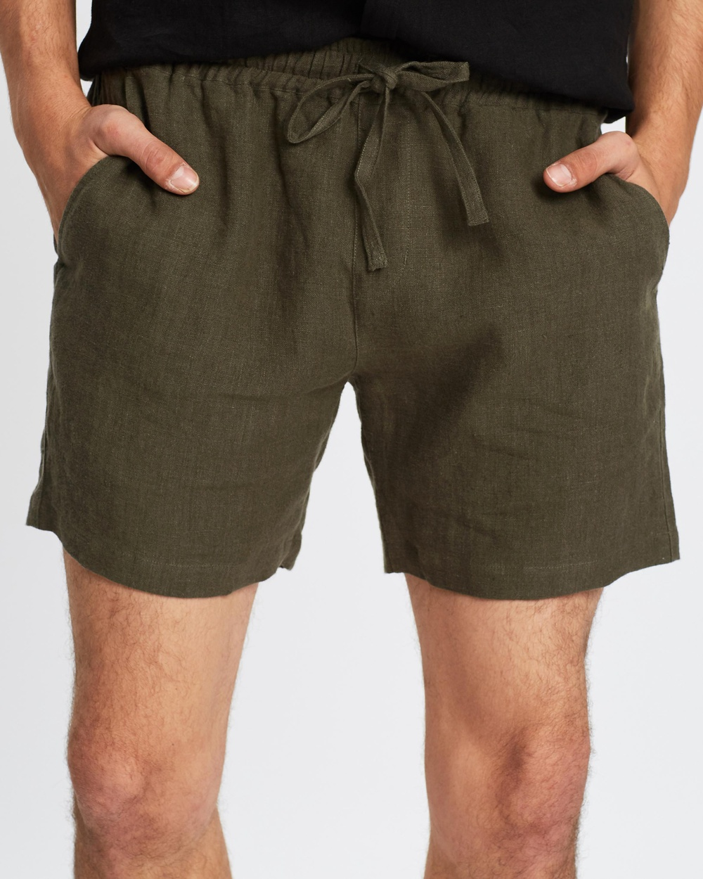 AERE Linen Pull On Shorts Khaki