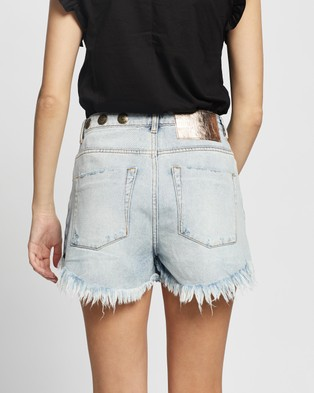 ONETEASPOON Studded Bonita High Waist Denim Shorts - Denim (Montana)