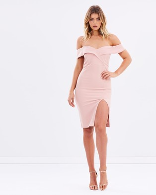 Bardot – Bella Midi Dress – Bodycon Dresses (Peach)