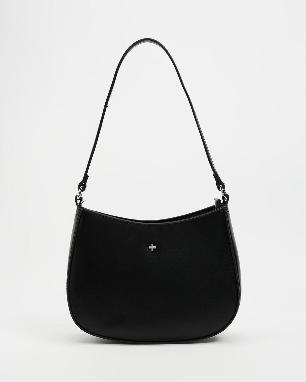 PETA AND JAIN Priya Handbags Black Smooth & Silver