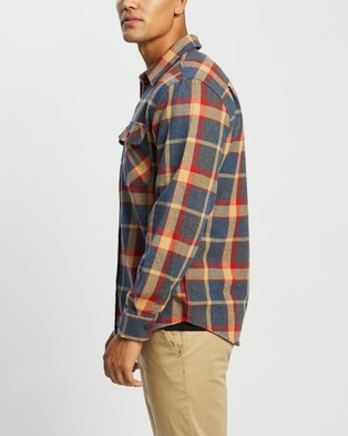 Brixton Bowery LS Flannel Shirt - Tops (Blue & Red)