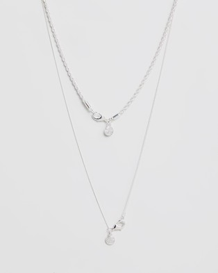 Chained & Able Mini Crucifix Rope Layer Necklace - Jewellery (Silver)