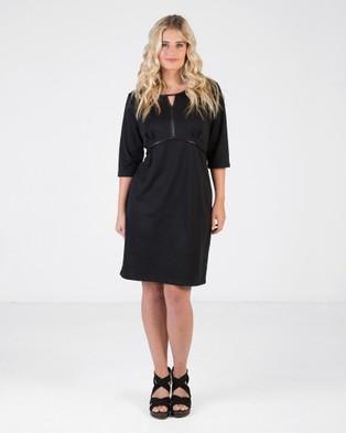 Love Your Wardrobe – PU trim ponti dress – Dresses (Black)
