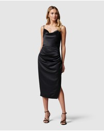 Forever New - Laura Satin Cowl Ruched Midi Dress