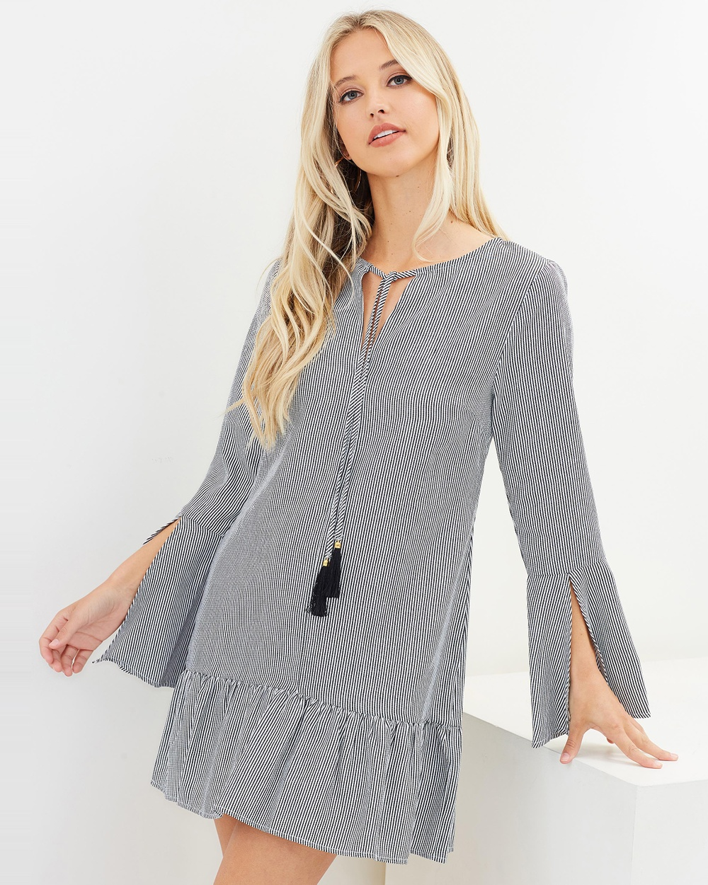 Dazie Black & White Rihana Frill Hem Dress