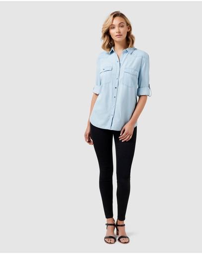 Forever New Arielle Western Denim Shirt Blue