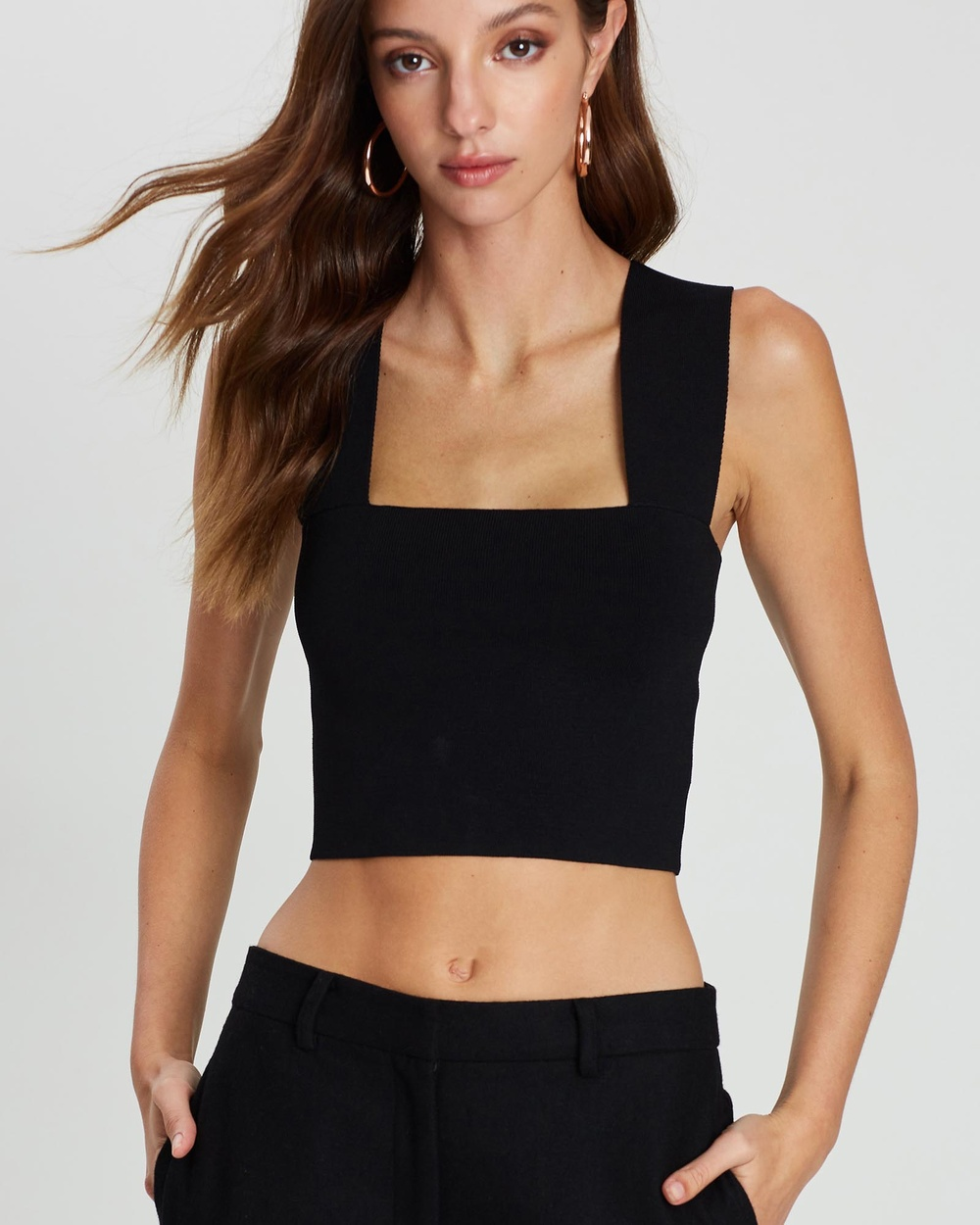 Friend of Audrey Nadia Cropped Knit Top Cropped tops Black Nadia Cropped Knit Top