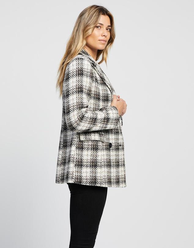 Women Cherry Wool Blend Check Coat