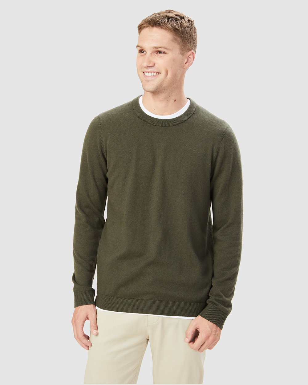 French Connection Merino Blend Knit Jumpers & Cardigans MOSS