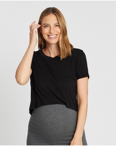 Cotton On Maternity High-low Short Sleeve Top Black