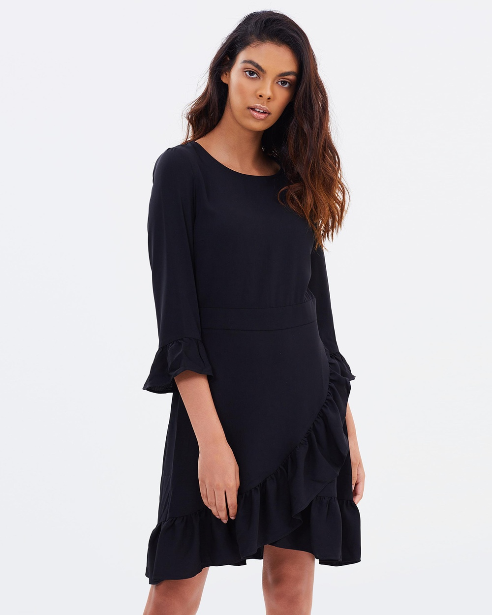 Miss Selfridge 3 4 Sleeve Frill Hem Dress Dresses Black 3-4 Sleeve Frill Hem Dress