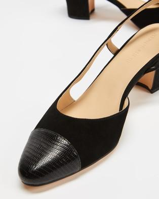 Atmos&Here Pamela Leather Heels - Mid-low heels (Black & Lizard Embossed Leather)