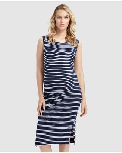 Bamboo Body Madeleine Dress Navy & White Stripe