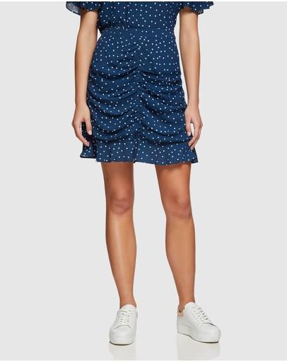 Oxford Amber Spot Skirt Navy/white