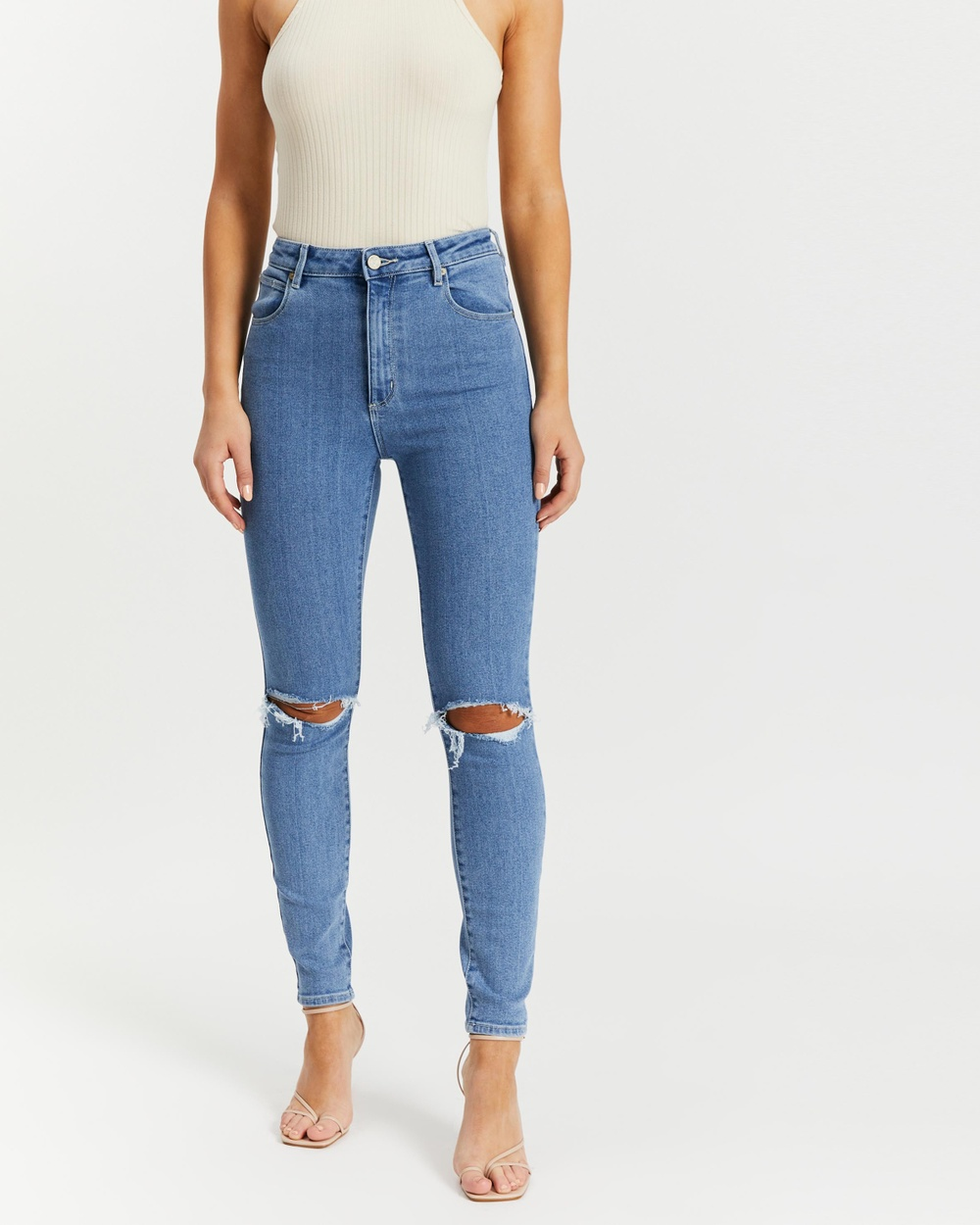 Abrand A High Skinny Ankle Basher Jeans High-Waisted Heather Rip