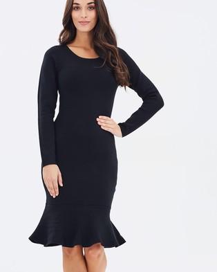 Forcast – Keira Fluted Hem Knit Dress – Bodycon Dresses (Black)