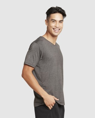Boody Organic Bamboo Eco Wear - V Neck T Shirt - Short Sleeve T-Shirts (Dark Marl) V-Neck T-Shirt