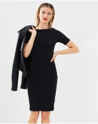 Dorothy Perkins - Slash Neck Textured Body-Con Dress