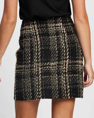 Atmos&Here Lilly Boucle Check Skirt Skirts Neutral Cream