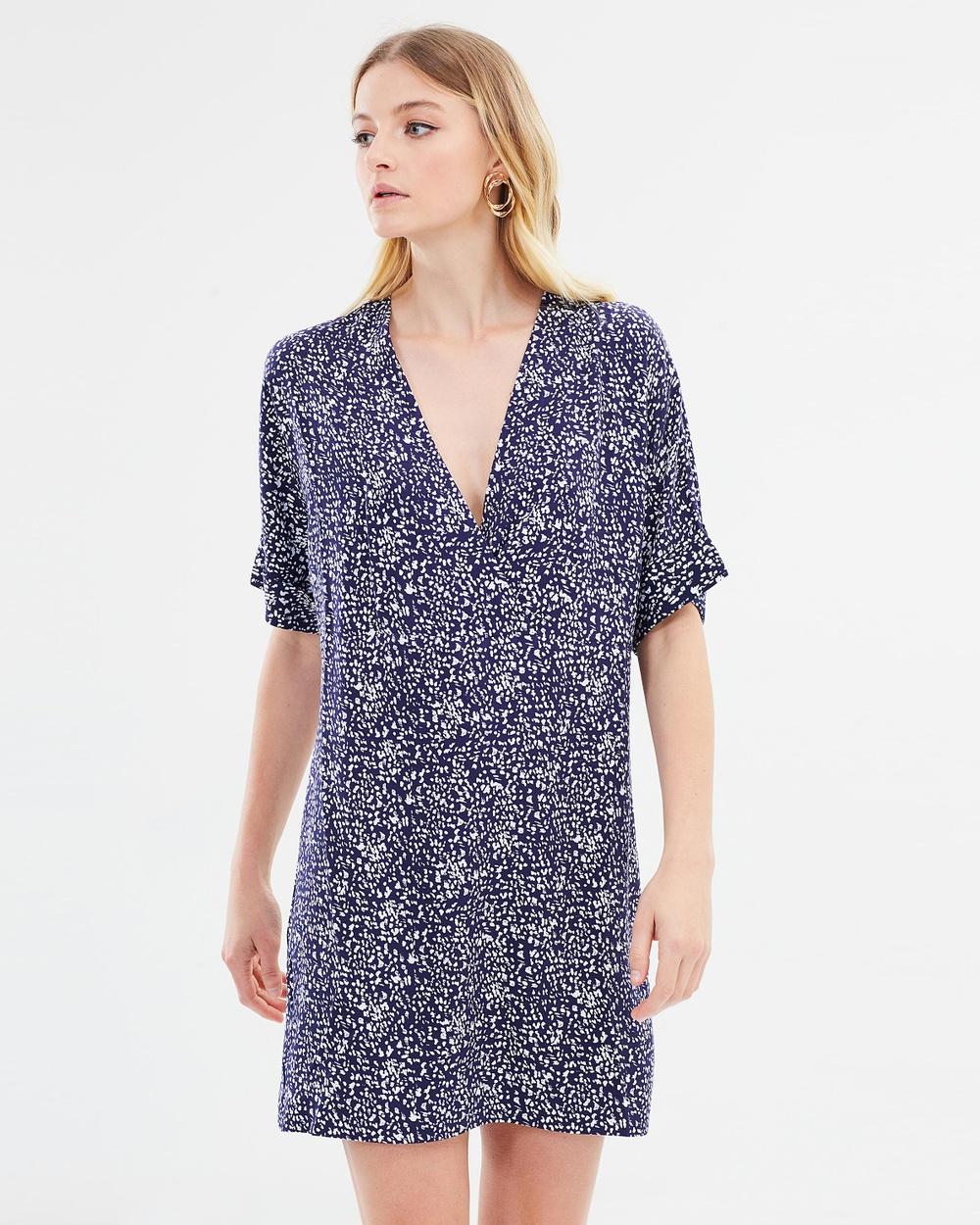 Warehouse Spiral Print Wrap Shift Dress Printed Dresses Navy Pattern Spiral Print Wrap Shift Dress