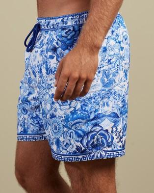Camilla - Elastic Waist Boardshorts Swimwear (High Tea)