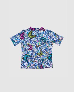 Aqua Blu Kids Mariposa Frill Short Sleeve Rash Vest   Babies - Swimwear (Mariposa)