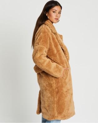 Missguided Borg Teddy Oversized Coat - Coats & Jackets (Tan)