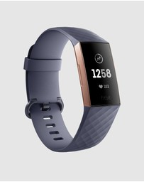 Fitbit - Fitbit Charge 3 Advanced Health and Fitness Tracker - Rose Gold/Blue Grey