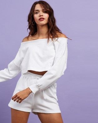Missguided Co Ord Cold Shoulder Top & Runner Shorts Set - Sweats (White)