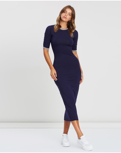 Atmos&here Body-con Midi Dress Navy & Grey
