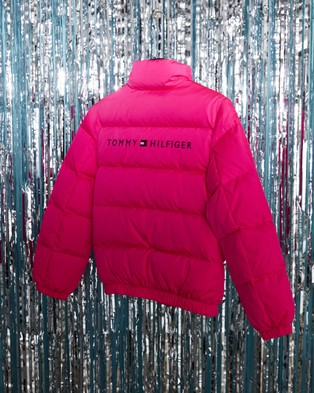 Tommy Hilfiger TJ Logo Down Bomber Jacket   Teens - Coats & Jackets (Pink Glo)