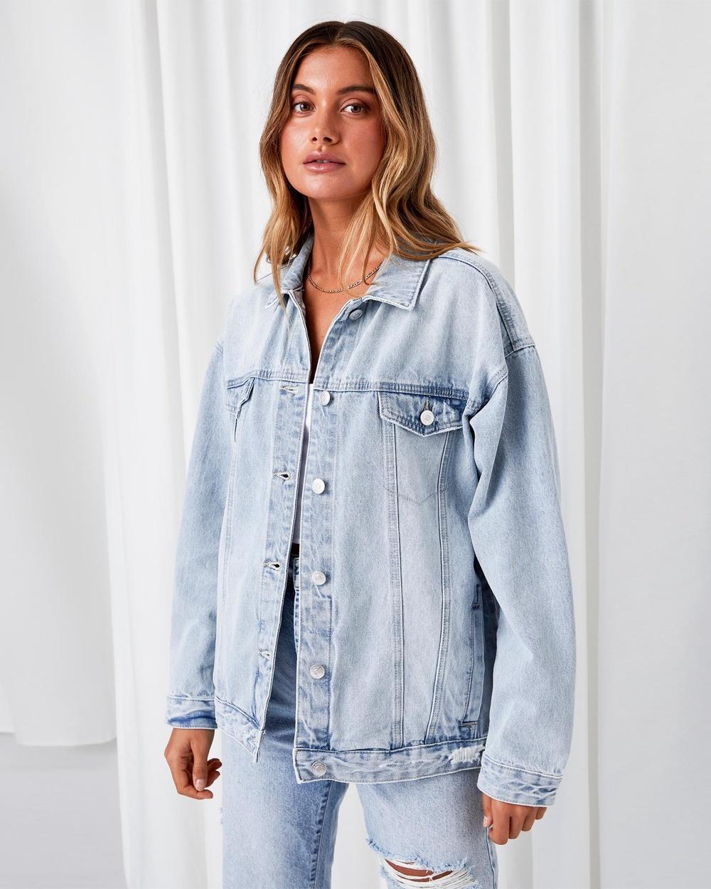 Supre Oversized Denim Jacket jacket Lightning Blue Fade Australia