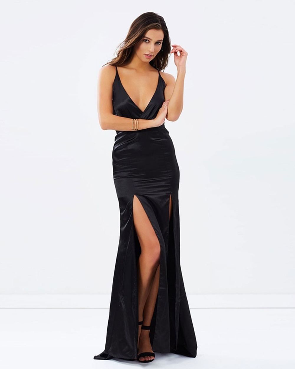 SKIVA Satin Evening Dress with Front Splits Dresses Black Satin Evening Dress with Front Splits