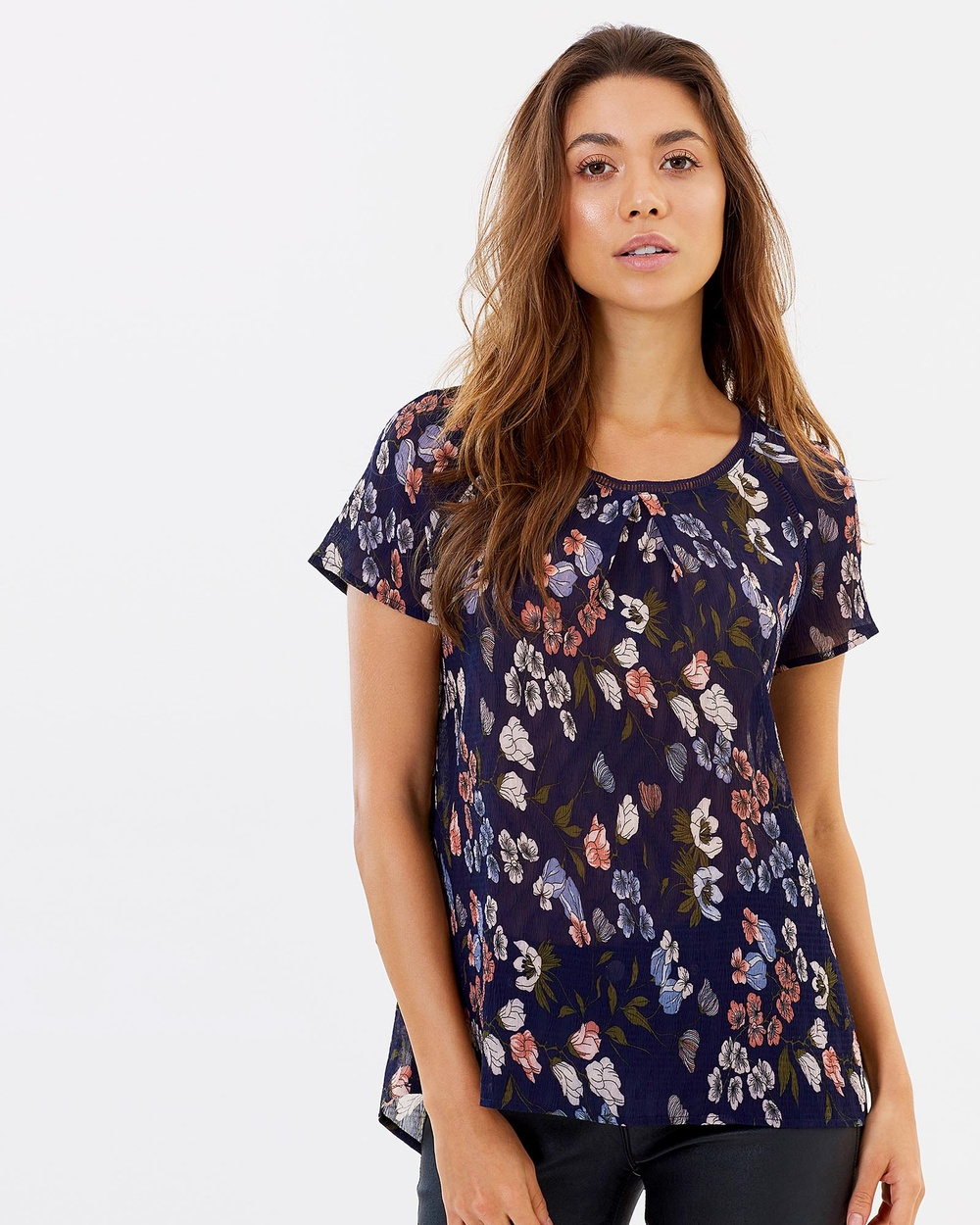 Privilege Petal Party Flare Sleeve Top Tops Navy Floral Petal Party Flare Sleeve Top