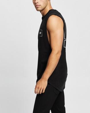 Nena & Pasadena Choices Scoop Back Muscle Tee - T-Shirts & Singlets (Acid Black)
