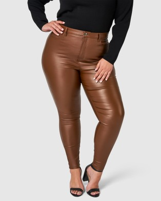 Something 4 Olivia Therese Lift & Shape Coated Jeans - High-Waisted (Brown)