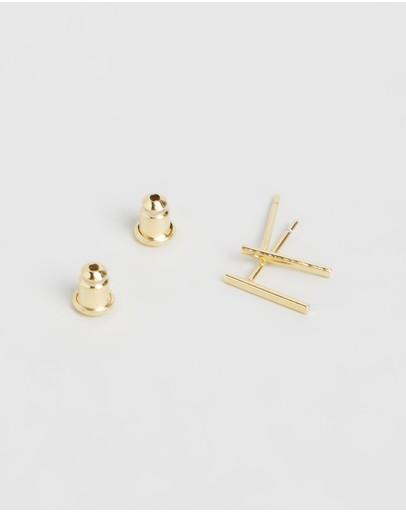 Orelia London Gold Plated Fine Bar Stud Earrings Pale