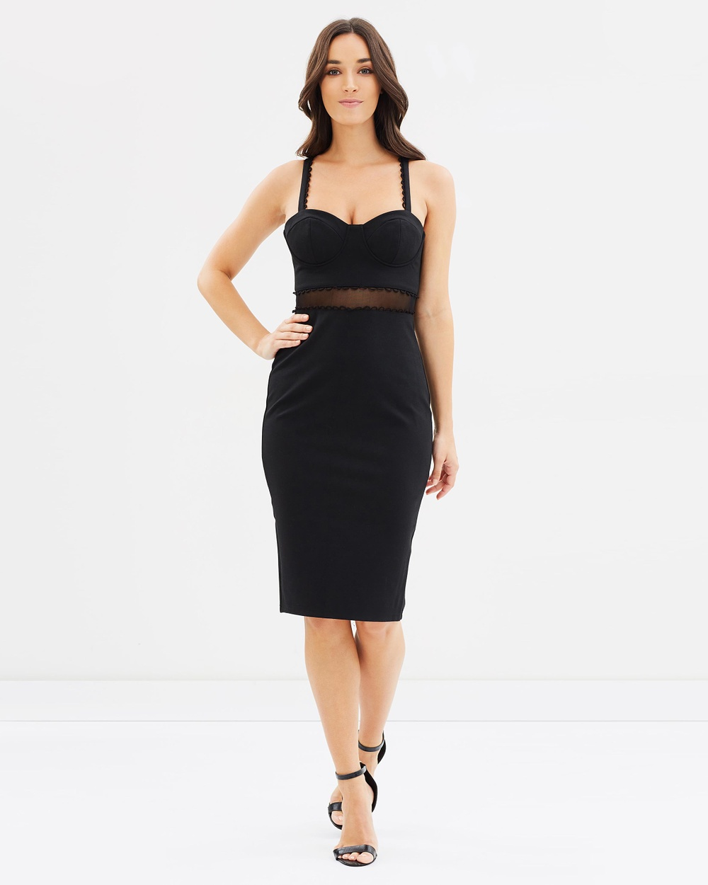 Lost Ink Sheer Waist Bust Cup Body Con Dress Bodycon Dresses Black Sheer Waist Bust Cup Body-Con Dress