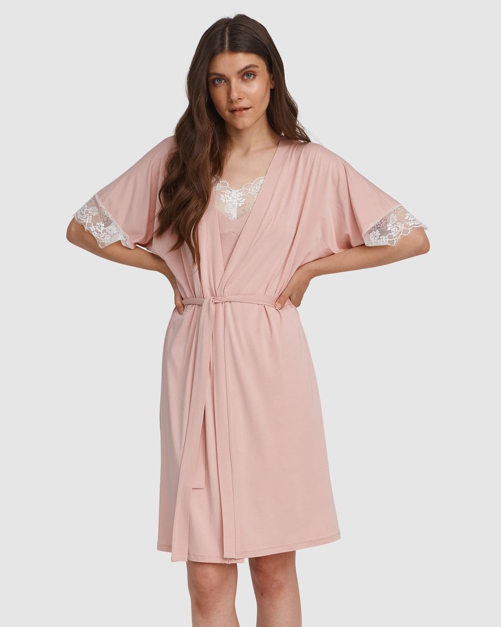 Oh!Zuza Lace Trim Robe Sleepwear Pink