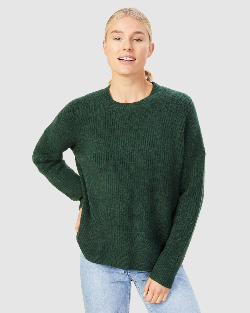 French Connection Stitch Detail Crew Neck Knit Jumpers & Cardigans FOREST GREEN