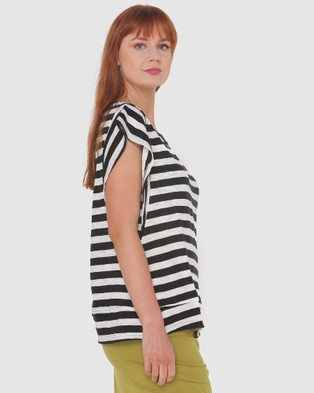 Lincoln St Frilled Sleeve Top - Tops (Black Stripe)