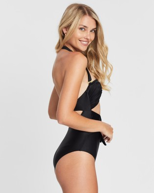 Duskii Fleur Ruched Waist Tie One Piece - One-Piece / Swimsuit (Black)