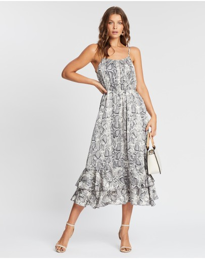 Atmos&here Amara Snake Midi Dress Grey