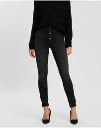 ONLY - High-Waisted Button Skinny Ankle Jeans