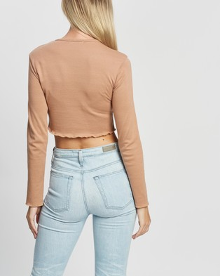 Missguided Long Sleeve Crop Top 2 Pack - Cropped tops (Black & Camel)