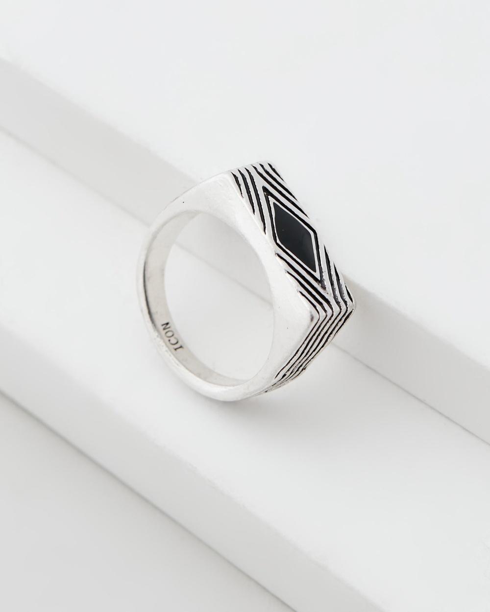 Icon Brand Deco Nuance Enamel Diamond Ring Jewellery Silver